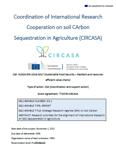 "Cover of ""Strategic Research Agenda (SRA) on Soil Carbon"""