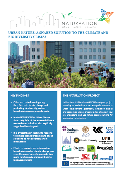 NATURVATION Publication Cover Image with text and a photograph of a city garden