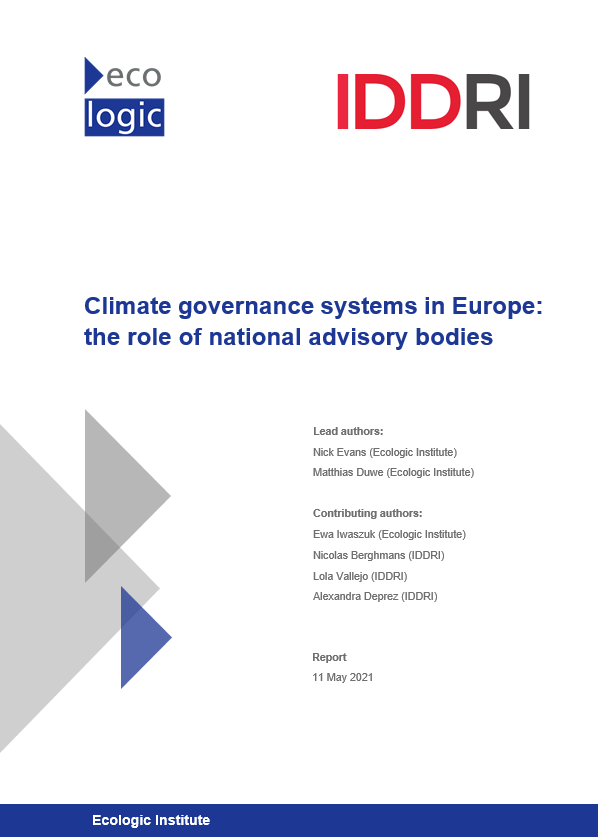 Report cover: Climate governance systems in Europe: the role of national advisory bodies