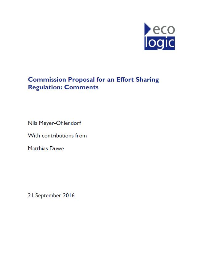 Commission Proposal For An Effort Sharing Regulation Comments